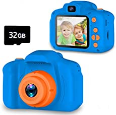 Seckton Upgrade Kids Selfie Camera, Christmas Birthday Gifts for Boys Age 3-9, HD Digital Video Cameras for Toddler, Portable Toy for 3 4 5 6 7 8 Year Old Boy with 32GB SD Card-Navy Blue