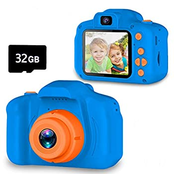 Seckton Upgrade Kids Selfie Camera Christmas Birthday Gifts for Boys Age 3-9 HD Digital Video Cameras for Toddler Portable Toy for 3 4 5 6 7 8 Year Old Boy with 32GB SD Card-Navy Blue