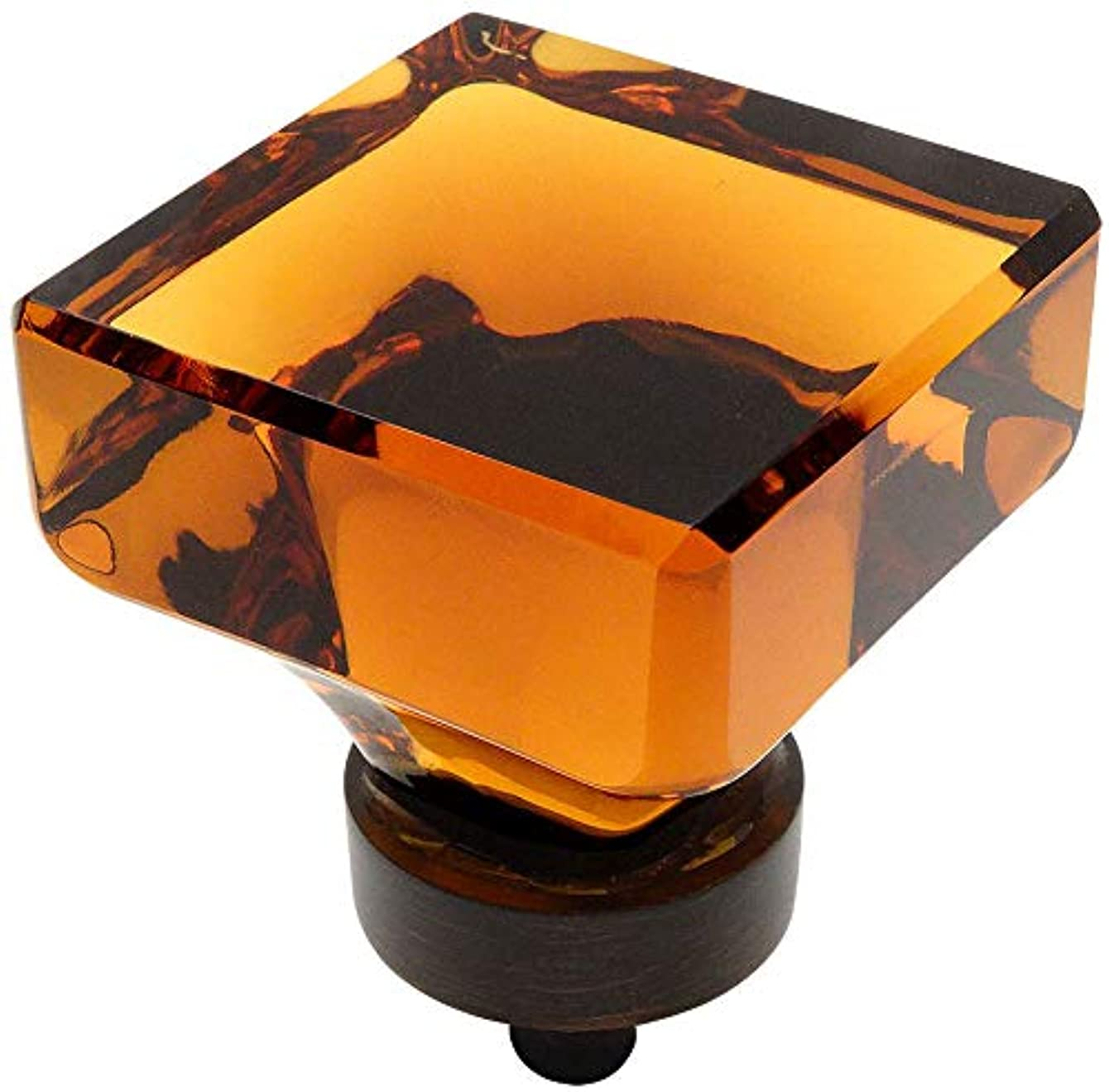 5 Pack - Cosmas 6377ORB-A Oil Rubbed Bronze Cabinet Hardware Square Knob with Amber Glass - 1-3/8