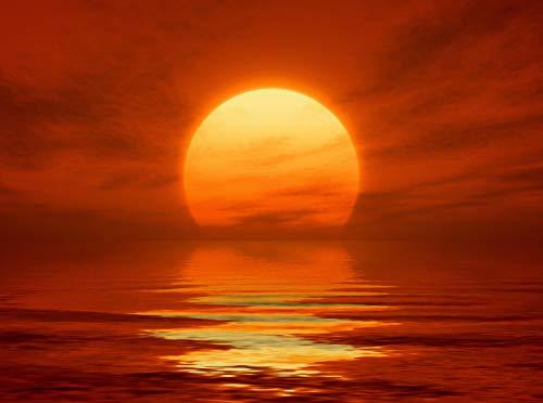 wandmotiv24 Fototapete Roter Sonnenuntergang Größe: 350 x 260 cm Wandbild, Motivtapete, Vlietapete KTk459