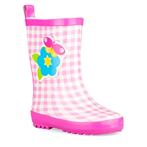 Wippette Rainboots For Boys, Girls and Toddlers - Mid-Calf Rain Boots For Kids, Fun Prints and Bold Colors,Pink,8 M Toddler
