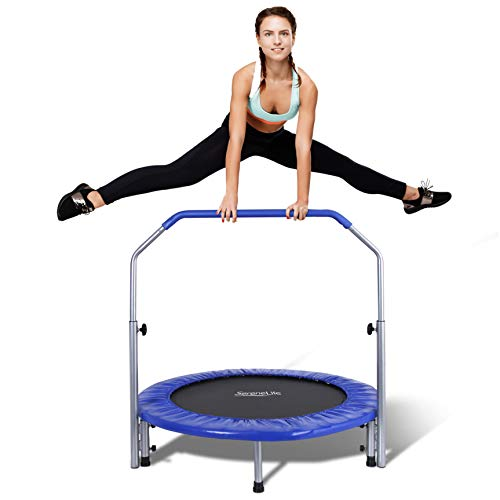 """SereneLife Portable & Foldable Trampoline - 40"""" in-Home Mini Rebounder with Adjustable Handrail, Fitness Body Exercise - SLSPT409, Blue"""