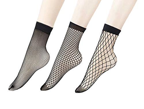 Penta Angel 3 Pairs Women Black Lace Fishnet Socks Elastic Ankle High Dress Hollow Out Mesh Net Socks Tights for Summer Wear