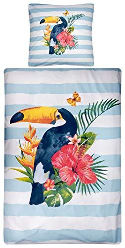 Aminata Kids Pelikan Bettwäsche 135 x 200 cm + 80 x 80 cm aus Baumwolle mit Reißverschluss, unsere Kinderbettwäsche mit Vogel-Motiv ist weich und kuschelig
