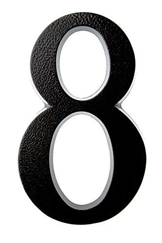 HUBER número de casa 8 de aluminio 20 cm I números de casa para puerta I Número de casa XL I placas de número de casa en noble diseño negro 3D, con recubrimiento de polvo