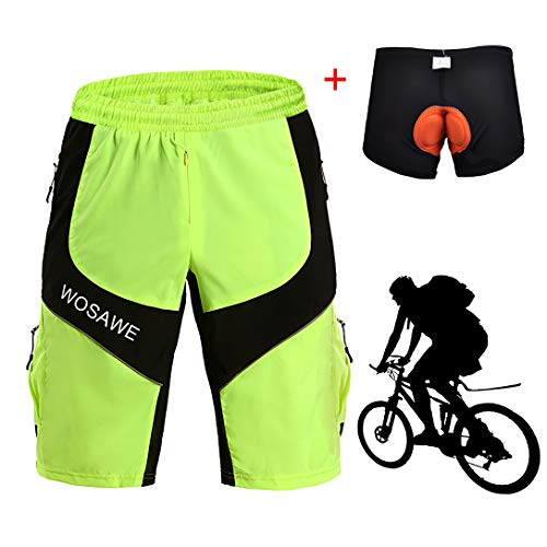 XIYAN Men's MTB Cycling Shorts Multi Pockets Shorts Outdoor Sport Leisure Padded Light Baggy Shorts Lightweight Breathable Ultra Fast Drying for Climbing,Green,XXL