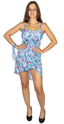 Foxxeo sexy Kleid mit Blumenprint Hawaii Kostüm für Damen | Gr. XS, S, M, L, XL | Damenkostüm Sommerkleid rückenfrei Party Partykleid Strandkleid türkis pink Blumen Sommerparty Hawaiiparty, Größe:XL