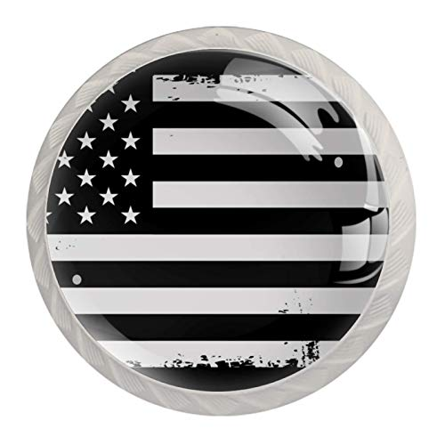 Bandera americana, blanco, negro 4 Piezas Perilla del Cajón del Gabinete,Mango de un Solo Orificio/Tirador de Puerta de Armario,Decoración del Hogar de Gabinete y Decoración del Hogar