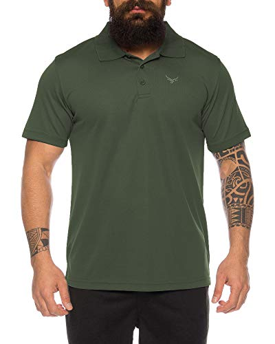 Raff & Taff Polo Shirt Fitness Shirt hochwertiges Atmungaktives Funktionsshirt T-Shirt Freizeit Shirt (Oliv, M)