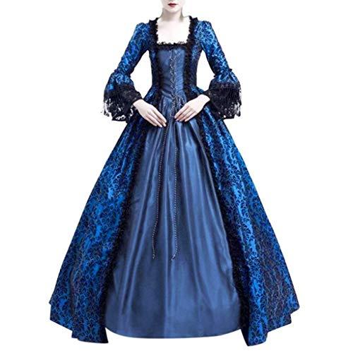 NHNKB Vestido de mujer Belle vintage medieval para Halloween, carnaval, disfraz de princesa, vestido maxi de cuentos de hadas, cosplay, vestido de cctel, vestido de noche, azul marino