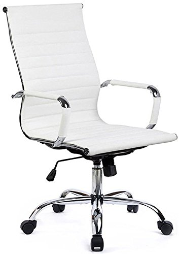 GTPOFFICE Office Conference Computer Desk Ribbed Chairs High Back Executive Swivel with Arms(White)