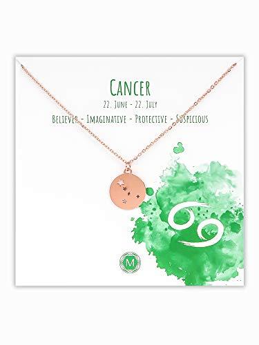 MURANDUM Sternzeichen Halskette | Zodiac Sign Star Constellation Necklace | Damen Kette mit Sternbild Anhänger (Roségold, Krebs/Cancer)