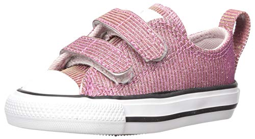 Converse Girls' Chuck Taylor 2V Space Star Sneaker, Barely Rose/Silver/White, 8 M US Toddler