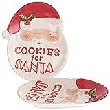 infactory Weihnachtsgeschirr: 2er-Set Keks-Teller mit Weihnachtsmann-Motiv, Cookies for Santa (Adventsteller)