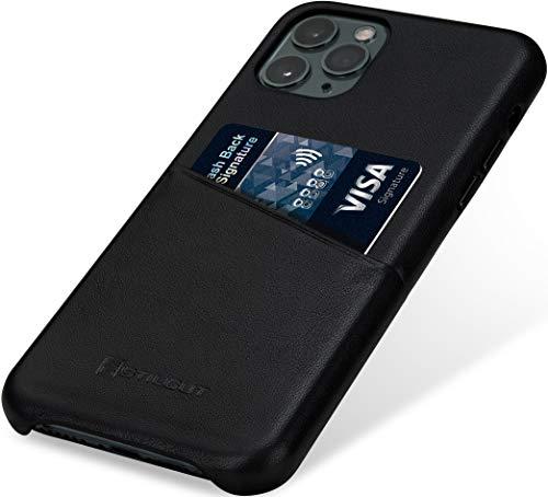 StilGut Handyhülle kompatibel mit iPhone 11 Pro Hülle mit Kartenfach, Hülle aus Leder, Kartenhülle - Schwarz