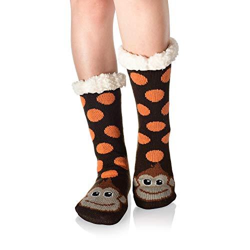 WYTartist Damen Hausschuhe Socken super weich und warm Fleece gefüttert Socken Streifen niedliche Tiere Winter Socken für Frauen und Mädchen Gr. One size, affe