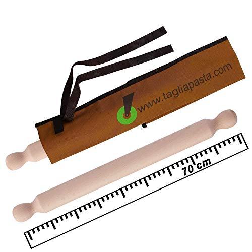 Rodillo de madera de haya con funda de algodón ecológico | Longitud 70 cm y diámetro 4,2 cm | Rodillo tendedero pasta fresca | Calidad cortador de pasta | Fabricado en Italia