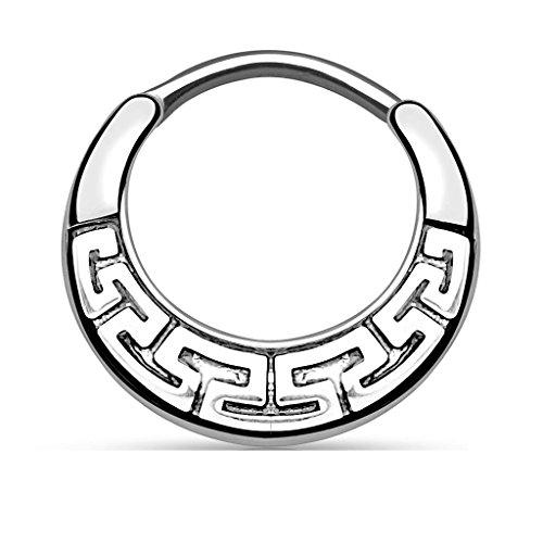 Gekko Body Jewellery Silver Maze Tribal Fan Design Surgical Steel Round...