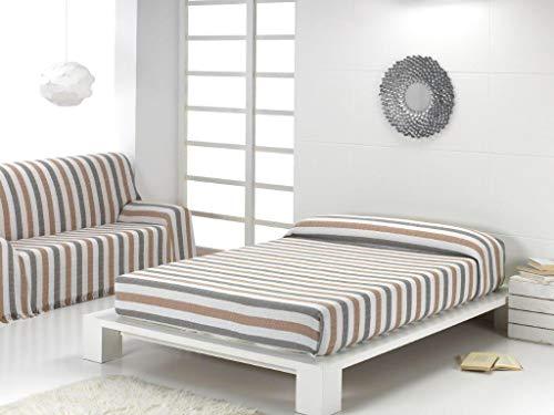 Energy Colors Textil Hogar - Bahia - Colcha Multiusos Cama Sofá Plaid Fabricado España (Rayas Perla, 220_x_260_cm)