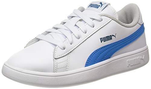 PUMA Unisex-Kinder Smash V2 L Ps Sneaker, Puma White-Dresden Blue, 34 EU