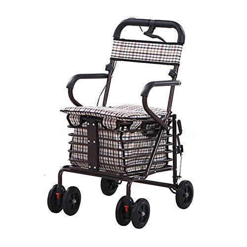 XYYZX Aggiornato Carrello Portaspesa, 2 en 1 Pieghevole Carrello Spesa Super Caricamento 100kg Sedia a rotelle Pieghevole, Carrozzina disabili, Seduta 44 Centimetri,Bronzo