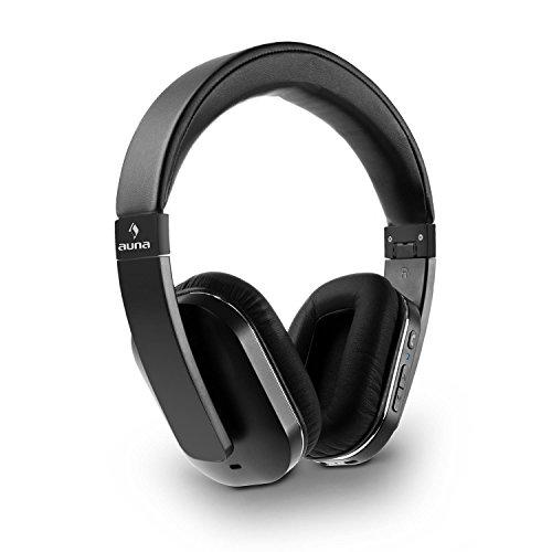 AUNA Elegance ANC - Bluetooth-Kopfhörer, Bluetooth Headphones, Wireless Headphones, aptX, Freisprechfunktion, Funktionstasten, NFC, Lithium-Ionen-Akku, 14 h Betriebszeit, faltbar, schwarz