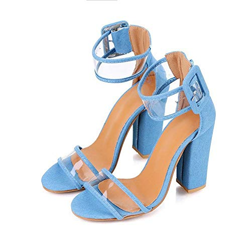 Satijn met open teen sleehak,Sandalen met dikke hak en open hak, damessandalen met hoge hak en gesp blauw_43,Flower Sandals Trouwschoenen