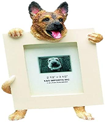 German Shepherd Picture Frame Holds Your Favorite 2.5 by 3.5 Inch Photo, Hand Painted Realistic Looking German Shepherd Stands 6 Inches Tall Holding Beautifully Crafted Frame, Unique and Special German Shepherd Gifts for German Shepherd Owners by E&S Impo