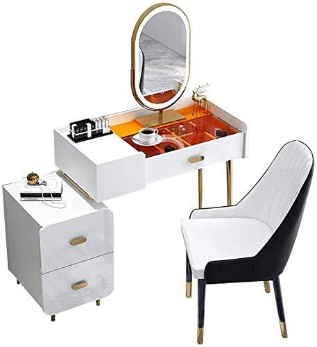 CDFCB Conjunto de Mesa de vanidad con Mesa de tocador de Maquillaje de Espejo iluminada LED