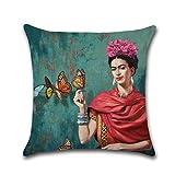 RecoverLOVE Funda de cojín Thida Pillow Frida Kahlo Autorretrato Lino de algodón Funda de Almohada Throw Pillow Fundas de Almohada Decorativas de Estilo Mexicano, 17.7' 17.7' para sofá, sofá, Cama