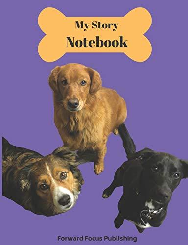 [画像:Handwriting Practice Story Book: 100 Pages with Drawing Space for Illustrating Your Story; Cover Featuring Cute Dogs on Purple Background]