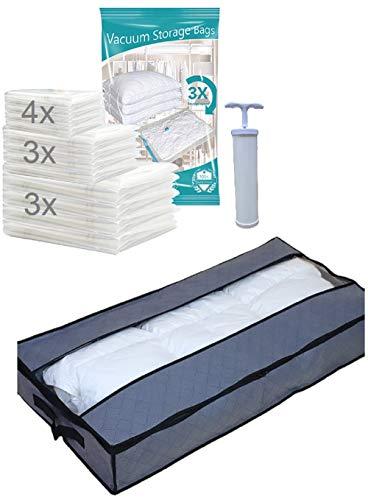 ML 10x Vakuumbeutel, Kleiderbeutel in DREI Größen inklusive Unterbettkommode für eine sorgenfreie Aufbewahrung von Pullovern, Jacken, Bettbezüge und vieles mehr.