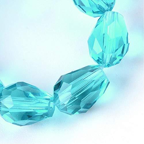 15 perlas de cristal checo de 8 mm x 6 mm, facetadas, forma de gota, perlas de cristal talladas, selección de colores (azul claro)