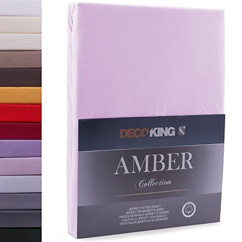 """#8 DecoKing Jersey Spannbettlaken, Spannbetttuch, Bettlaken, """"Amber Collection"""", 80x200 cm - 90x200 cm, Lila"""