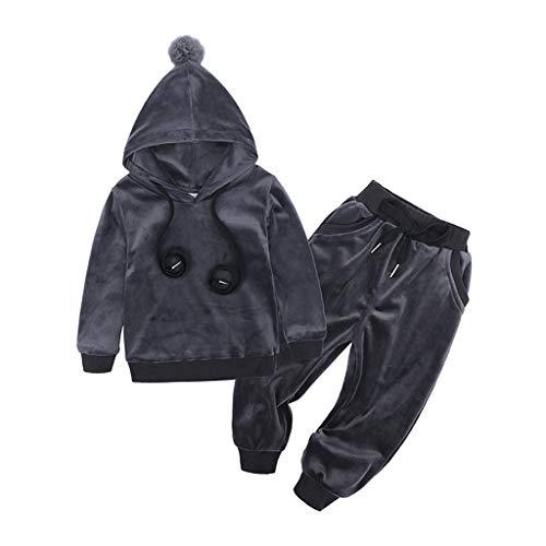 Kobay Kleinkind Kinder Baby Mädchen Jungen Langarm Solide Tops + Hosen Outfits Set Kleidung (4# Grau, 4-5T)