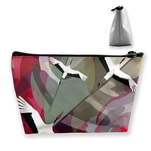 Japanische Kraniche fliegen über Gartenblüten Rose personalisierte Reise-Make-up-Tasche, Kosmetiktasche Bleistift-Tasche mit Reißverschluss