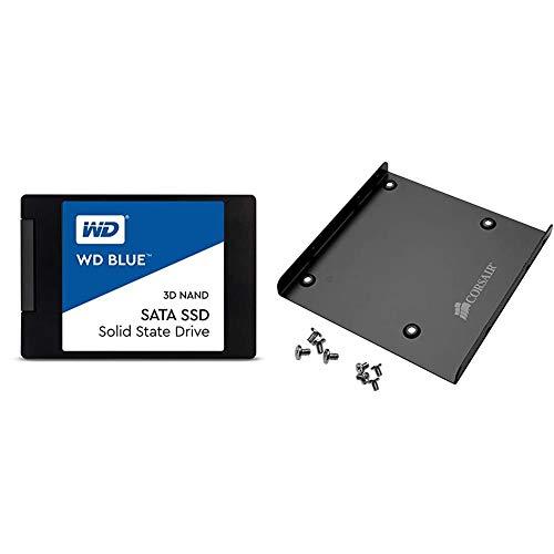 Western Digital 500GB WD Blue 3D NAND Internal PC SSD - SATA III 6 Gb/s, 2.5'/7mm, Up to 560 MB/s - WDS500G2B0A & Corsair SSD Mounting Bracket Kit 2.5' to 3.5' Drive Bay(Cssd-Brkt1), Black