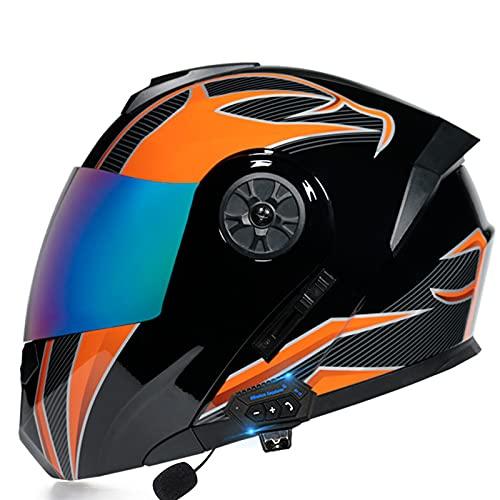 ZPTTBD Casco Moto Modular Bluetooth, Casco de Moto Scooter Mujer Hombre con Doble Visera, ECE Homologado Casco de Motocicleta Integrado para Adultos (Color : F, Size : (S=55-56CM))