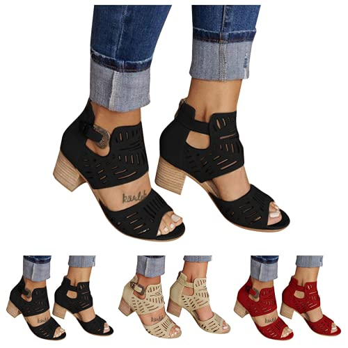 siilsaa Sandals for Women, Womens Chunky Heel Sandals Peep Toe Ankle Strap Hollow Roman Shoes Casual Summer Beach Sandal