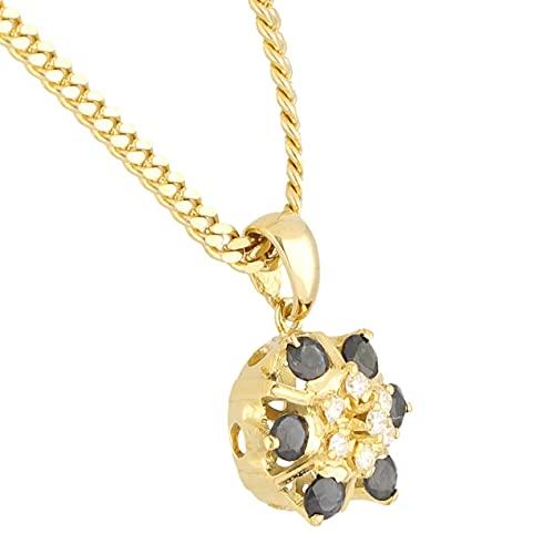 Jollys Jewellers Colgante de oro amarillo de 18 quilates con zafiro y diamante para mujer y borde amarillo de 14 quilates de 52 cm