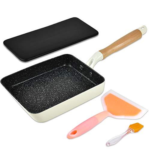 Artcome Japanische Omelette-Pfanne, Antihaftbeschichtung, Tamagoyaki-Eierpfanne, rechteckig, Mini-Bratpfanne, mit Silikon-Spatel und Pinsel, schwarzer Platte und magischem Schwamm-Radierer (weiß)