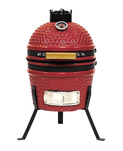 JOMO Kamado Parrilla de carbón de cerámica, 34 cm Blaze Red, Adecuada para 2-3 Personas