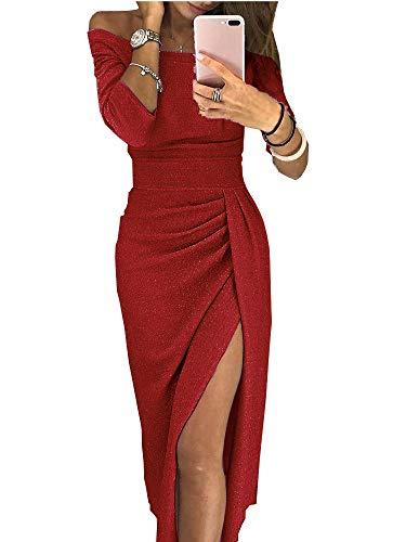 Verano Sexy Mujer Bolso Cadera Hendidura Hendidura Cuello Brillante Vestido Vestido Vestido Cena
