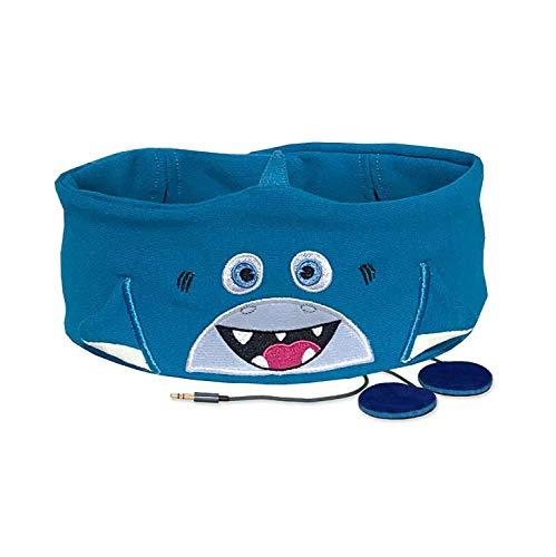 Snuggly Rascals (v.2) Kinder-Kopfhörer, Ultra-bequem, größenverstellbar und mit begrenzter Lautstärke (Baumwolle, Hai)