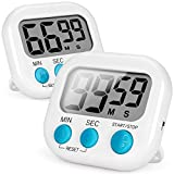 Timer, Kitchen Timer, Magnetic Digital Timers Loud Alarm Kitchen Timers for Cooking 2 Pack (White), Upgrade Silent Classroom Countdown Count Up Timer for Kids, Back Stand for Visual Timer