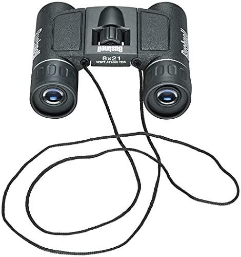 BUSHNELL - Jumelles Compactes pour Adultes - Powerview - 8x21 - Noir - Prisme en Toit - Compactes - Idéales Randonnées - Camping - Pocket - 132514