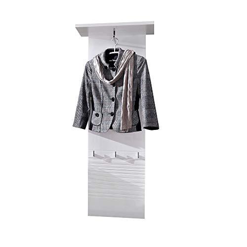 LIFE Garderobenleiste, weiss hochglanz - Moderne Hutablage & zuverlässige Wandhaken für Jacken & Taschen - 50 x 150 x 29 cm (B/H/T)
