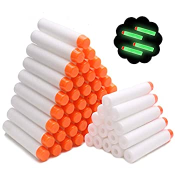 Airlab 100Pcs Refill Darts Compatiblewith Nerf N-Strike Elite Modulus Glow in the Dark Bullets - White