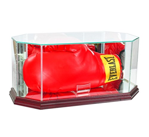 Perfect Cases BOXOCT-C Octagon Glass Full Size Boxing Glove Display Case44; Cherry