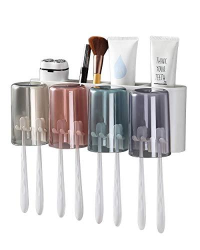 DOVAVA Zahnbürstenhalter Wand,Zahnputzbecher Kunststoff Set, Zahnburstenhalterung Ohne Bohren Kann für Kinder und Familien (Weiß) (4 Becher)